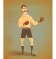 Vintage boxer stands in rack vector image