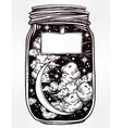 Wish jar with night sky moon and stars vector image