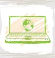 handwriting sketch wolrd inside green computer vector image