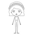 silhouette caricature skinny woman in clothes with vector image