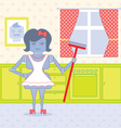 robot housewife vector image