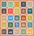 Restaurant line flat icons on orange background vector image