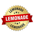 lemonade 3d gold badge with red ribbon vector image