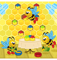 bees make honey in hive vector image