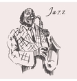 JAZZ Man Playing the Saxophone Hand Drawn Sketch vector image