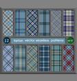 set in blue tartan seamless pattern background vector image