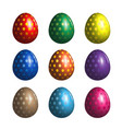 set of colorful easter eggs with patterns vector image