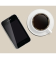 coffee cup with abstract tablet on business vector image vector image