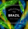 Welcome to Brazil of color palm vector image