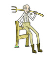 comic cartoon old farmer leaning on fence vector image