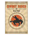 Cowboy horse rodeo posterWestern vintage with text vector image vector image