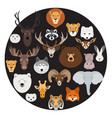 big animal face icon circle set on black vector image