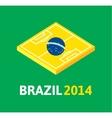 Flat green soccer field brazil flag vector image