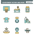 Icons line set premium quality of achiement vector image