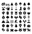 nature icons set park outdoors animals vector image