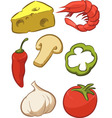 Pizza Ingredient Tomato Cheese Pepper Onion vector image