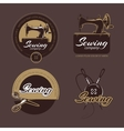 Retro sewing and tailoring logo labels vector image