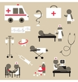 Set of flat design icons on medicine theme vector image