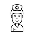 smiling nurse face icon black outline isolated vector image
