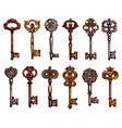 isolated icons sketch of vintage keys vector image vector image