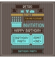 Invitation card for birthday in retro style vector image vector image
