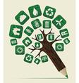 Green world concept pencil tree vector image vector image
