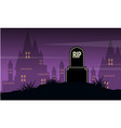 Graveyard and castle landscape halloween day vector image