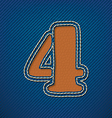 Number 4 made from leather on jeans background vector image