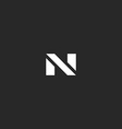 Letter N logo black and white style mockup modern vector image