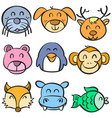 doodle of animal head hand draw vector image
