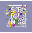 Floral Spring Graphic Design - with Pansy Flowers vector image