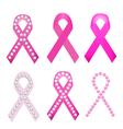 Set of Breast cancer award ribbons vector image