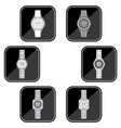 Set of black icons of a female watch vector image vector image