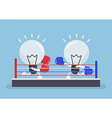 Two light bulb wearing boxing gloves fighting in vector image