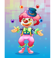 A clown with four colorful balls vector image vector image
