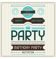 Invitation card for birthday in retro style vector image