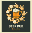 emblem for beer pub with beer mug and wreath vector image