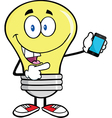 Light bulb with smart phone vector image vector image