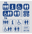 Blue Man and Woman public access icons set vector image