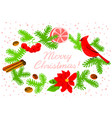 christmas wreath with poinsettia red flower vector image