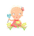 sweet cartoon baby girl sitting on the meadow with vector image
