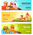 Fast Food Horizontal Banners Set vector image