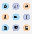 set of 9 editable school icons includes symbols vector image