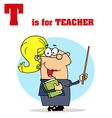 Cartoon teach with letter vector image