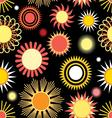 Seamless bright graphic pattern of different sun vector image