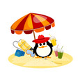 cartoon color image of a small penguin under a vector image