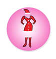 Christmas Girl dress in Santa Claus Icon vector image