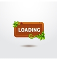 Game interface button loading on wooden template vector image