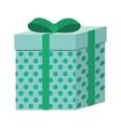 green square gift box present ribbon dots vector image
