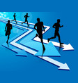 group of five man running on arrow tracks vector image